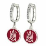 Alabama A & M Bulldogs Enamel Large CZ Hoop Earrings