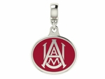 Alabama A&M Silver Enamel Dangle Charm Bead