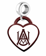 Alabama A&M University Color Heart Dangle Bead