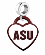 Arizona State University Sun Devils Color Heart Dangle Bead