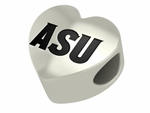 Arizona State University Sun Devils Silver Laser Heart Bead