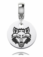 Arkansas State University Red Wolves Silver Round Dangle Bead