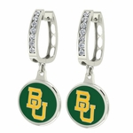 Baylor Bears Enamel Large CZ Hoop Earrings