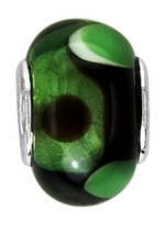 Beadles Black and Green Glass Bead
