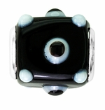 Beadles Black and Light Blue Glass Square Bead