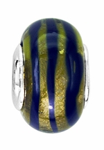 Beadles Blue and Gold Glass Bead