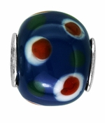 Beadles Blue and Red Dots Glass Bead