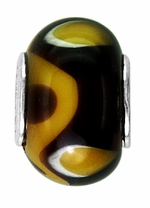 Beadles Brown and Gold Glass Bead