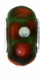 Beadles Dark Green and Red Glass Bead
