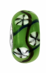 Beadles Green and White Glass Bead