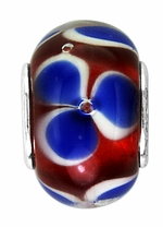 Beadles Red White and Blue Glass Bead