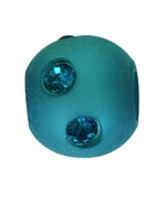 Beadles Round 8mm Blue Zircon Frosted Acrylic Swarovski Crystal Bead