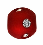 Beadles Round 8mm True Red Frosted Acrylic Swarovski Crystal Bead