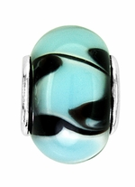 Beadles Silver Aqua and Black Swirl Glass Bead