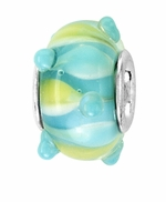 Beadles Silver Aqua Green Yellow Swirls Glass Bead