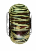 Beadles Silver Black and Gold Stripes Glass Bead