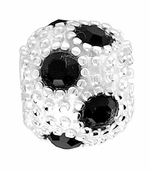 Beadles Silver Black CZ Crystal Spacer Bead