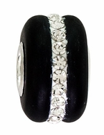 Beadles Silver Black Frosted Glass White Crystals Bead