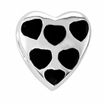 Beadles Silver Black Hearts Spacer Bead