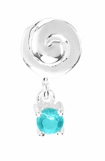 Beadles Silver Blue CZ Dangle Bead