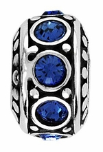Beadles Silver Blue CZ Spacer Bead