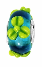 Beadles Silver Blue Green Floral Glass Bead