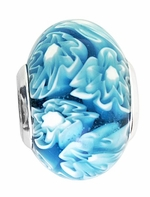 Beadles Silver Blue Marble Swirl Glass Bead
