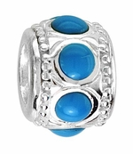 Beadles Silver Blue Stones Spacer Bead