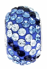 Beadles Silver Blue Stripes Swarovski Crystal Bead