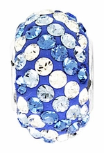 Beadles Silver Blue Tone Stripes Swarovski Crystal Bead