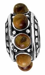 Beadles Silver Brown Stones Spacer Bead