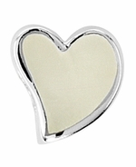 Beadles Silver Cream Enamel Heart Bead