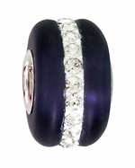 Beadles Silver Dark Blue Frosted Glass White Crystals Bead