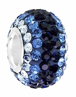 Beadles Silver  Dark Blues Swarovski Crystal Bead