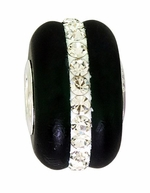 Beadles Silver Dark Green Frosted Glass White Crystals Bead