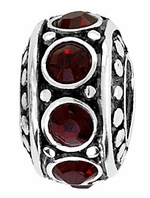 Beadles Silver Dark Red CZ Spacer Bead
