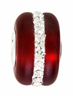 Beadles Silver Dark Red Frosted Glass White Crystals Bead