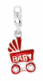 Beadles Silver Enamel Baby Carriage Dangle Bead