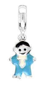 Beadles Silver Enamel Boy Dangle Bead