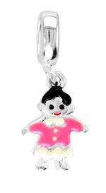 Beadles Silver Enamel Girl Dangle Bead