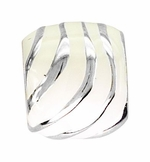 Beadles Silver Enamel White Stripes Bead