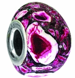 Beadles Silver Fuschia Pink Trioid Turquoise Bead