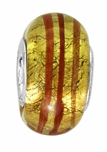 Beadles Silver Gold and Red Stripes Glass Bead