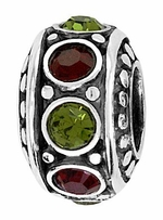 Beadles Silver Green and Red CZ Spacer Bead