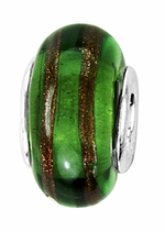 Beadles Silver Green Brown Glass Bead
