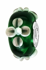 Beadles Silver Green Floral Glass Bead