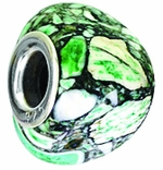 Beadles Silver Green Trioid Turquoise Bead