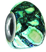 Beadles Silver Greens Trioid Turquoise Bead