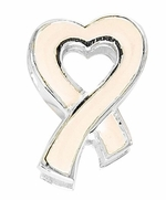 Beadles Silver Ivory Awareness Ribbon Bead