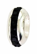 Beadles Silver Jet Black Spacer Bead